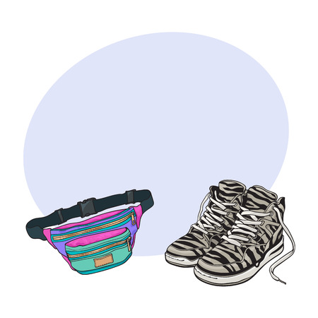 Personal items from 90s - zebra sneakers and colorful waist bag, sketch vector illustration with space for text. Fashion of the nineties, 90s - high sneakers, sport shoes, colorful waist bag Illustration