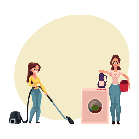 Pretty young woman, housewife washing and vacuum cleaning her house, doing housework, cartoon vector illustration with space for text. Beautiful woman girl washing clothes