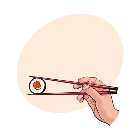 Hand holding Japanese, Chinese, Asian sushi, roll with pair of wooden chopsticks, sketch vector illustration with space for tex. Human hand with chopsticks and sushi, roll with salmon