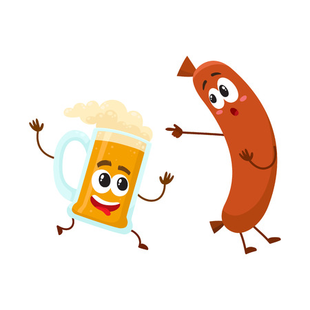 Funny beer mug and frankfurter sausage characters having fun together, cartoon vector illustration isolated on white background. Funny smiling beer mug character running after sausage poiting to it