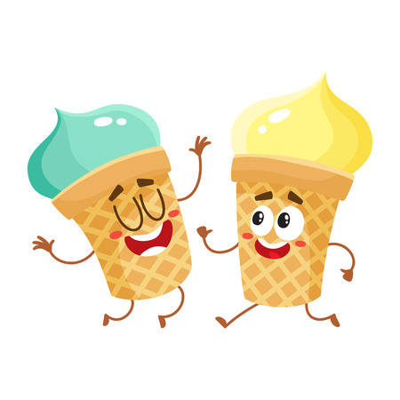 Two funny ice cream cup characters - strawberry and vanilla, cartoon style vector illustration isolated on white background. Couple of cute smiling strawberry and pistachio ice cream cone characters Ilustrace