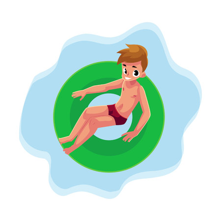 Teenage boy, teenager swimming on floating inflatable ring on the water surface, top view cartoon vector illustration. Teen boy, teenager floating on inflatable ring in swimming pool