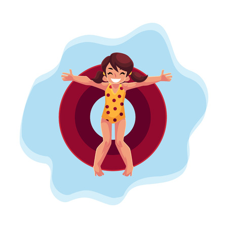 Teenage girl with ponytails swimming on floating inflatable ring on the water surface, top view cartoon vector illustration . Teen girl, teenager floating on inflatable ring in swimming pool