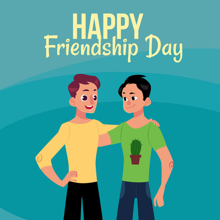 Happy friendship day greeting card design with two men, friends hugging each other, cartoon vector illustration on blue background. Half length portrait of male friends, friendship day greeting card 向量圖像