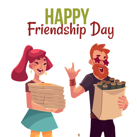 Happy friendship day greeting card design with friends hurrying to a party, fetching beer, pizza, cartoon style vector illustration isolated on white background. Illustration