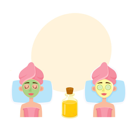 Young woman having facial mask applied by cosmetician and relaxing in spa salon, top view cartoon vector illustration with space for text. Top view picture of woman getting facial mask in spa