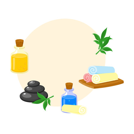 Set of spa salon accessories - hot stones, massage oil, rolled up towels, cartoon vector illustration with space for text. Hot stones, massage oil, rolled up towels, cartoon style illustrations