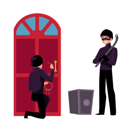 Thief, burglar breaking in house, going to force open safe box, cartoon vector illustration isolated