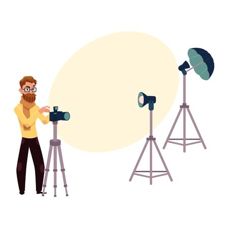 Photographer taking pictures, shooting in studio, photo equipment, camera, flash, tripods, cartoon vector illustration with space for text. Photographer working in studio, professional photo equipment