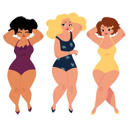 Tres mujeres regordetas, curvas, niñas, más los modelos de tamaño en trajes de natación, vista superior de dibujos animados ilustración vectorial aislados sobre fondo blanco. Hermosas gordas, mujeres con sobrepeso, chicas en trajes de baño