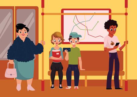 지하철 기차 차에있는 사람들, 서 있고 들고 손잡이, 만화 벡터 일러스트 레이 션 좌석에 앉아. 앉아서 지하철 열차에 서있는 사람, 남성과 여성의 전체 일러스트