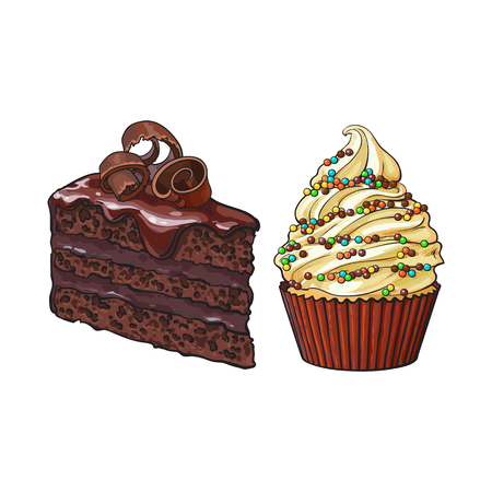 Hand drawn desserts - cupcake and piece of layered chocolate cake, sketch style vector illustration isolated on white background. Realistic hand drawing of cupcake and chocolate cake desserts