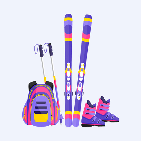Skis, poles, boots and backpack, winter sport vacation elements, flat style vector illustration isolated on white background. Flat vector ski, poles, boots and backpack, skiing sport elements