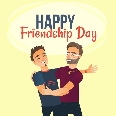 Happy friendship day greeting card design with two men, friends hugging each other, cartoon vector illustration on white background. Half length portrait of male friends, friendship day greeting card 向量圖像