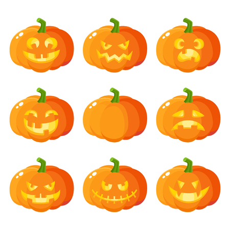 Set of Halloween pumpkin jack-o-lanterns showing various emotions, cartoon vector illustration isolated on white background. Set of pumpkin, jack o lantern emoticons, traditional Halloween symbol