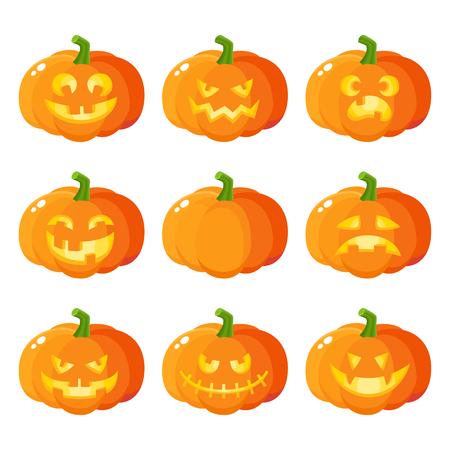 Ensemble de jack-o-lanternes de citrouille d'Halloween montrant diverses émotions, illustration de vecteur de dessin animé isolé sur fond blanc. Ensemble de potiron, émoticônes jack o lanterne, symbole traditionnel de l'Halloween Vecteurs