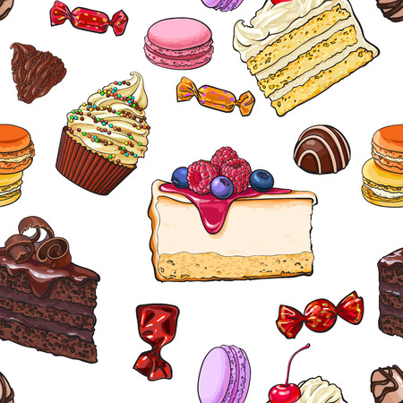 confection: Seamless pattern of hand drawn cakes, candies, macaroons, cupcakes, sketch vector illustration. Seamless pattern, backdrop, background, wrapping paper, textile design with various sweets and desserts
