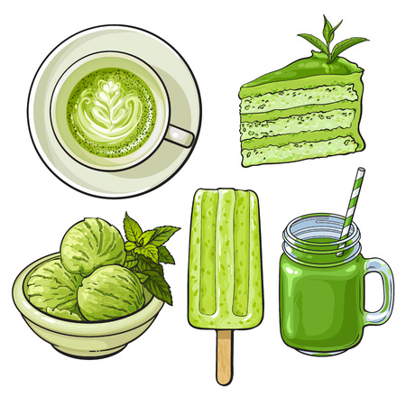 Hand drawn food with matcha green tea - ice cream, cake, drinks, sketch vector illustration isolated on white background. Hand drawn matcha tea food - ice cream,   cake, cappuccino, cocktail Ilustração