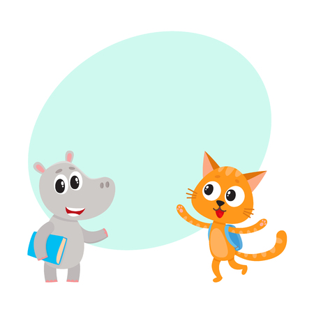 points of interest: Cute animal student characters, bear with bunch of flowers, cat with backpack, cartoon vector illustration with space for text. Little animal student characters, back to school concept
