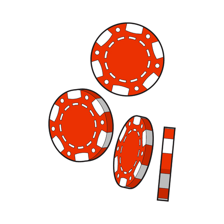 Set of falling red gambling, casino, poker chips, sketch style vector illustration isolated on white background. Gambling chips falling down on white background