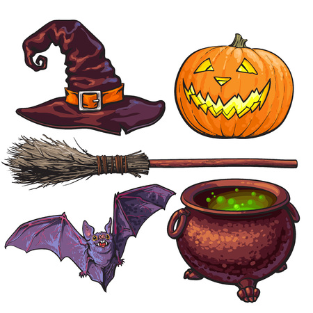 Witch accessories - pointed hat, caldron, jack o lantern, broom, bat, Halloween decoration elements, sketch vector illustration isolated on white background. Set of hand drawn witch, Halloween objects 向量圖像