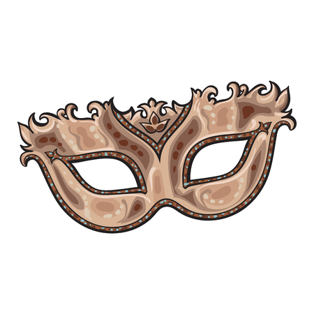 Beautifully decorated golden Venetian carnival mask with glitter and ornaments, sketch style vector illustration isolated on white background. Realistic hand drawing of purple carnival, Venetian mask Ilustração