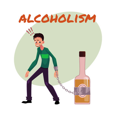 Alcohol dependence poster, banner template with man standing with hand chained to bottle of liquor, alcohol dependence, cartoon vector illustration isolated on white background. Illustration