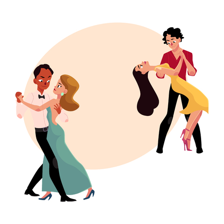 전문 볼룸 댄서의 두 커플 춤, 서로 찾고, 텍스트위한 공간 만화 벡터 일러스트 레이 션. 탱고, 왈츠, 룸바 댄스 두 볼룸 댄스 커플