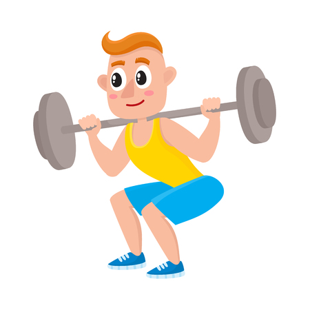 Young man squatting with barbell, doing sport exercises in gym, cartoon vector illustration isolated on white background. Illustration