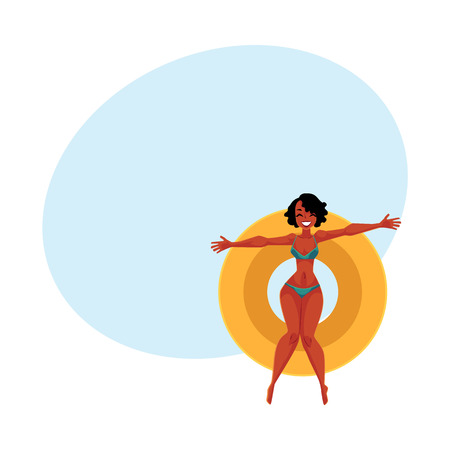 Young black, African American girl, woman in bikini floating on inflatable ring, top view cartoon vector illustration with space for text. Young black woman, girl swimming on inflatable ring