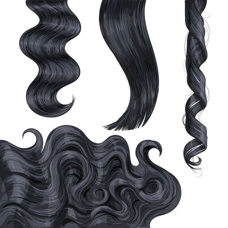Set of shiny long black, fair straight and wavy hair curls, sketch style vector illustration isolated on white background. Set of hand drawn realistic healthy, shiny flaxen hair curls