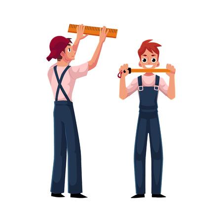 2 つの建設労働者、統一表示測定テープ、白い背景で隔離の漫画ベクトル図のビルダー。笑顔のビルダーの完全な長さの肖像画。