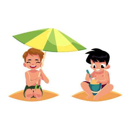 Two boys playing on the beach - one filling bucket, another hiding under umbrella, cartoon vector illustration isolated on white background. Boys, children, kids playing on the beach, summer vacation 向量圖像