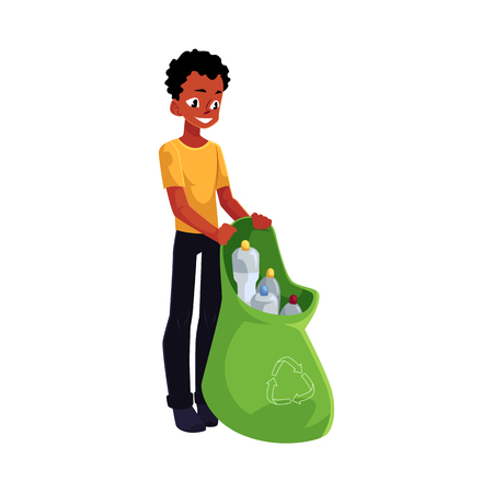 Black man holding bag of plastic bottles, garbage recycling, cartoon vector illustration isolated on white background. Black, African American man with bag of plastic bottles, garbage collection Illustration