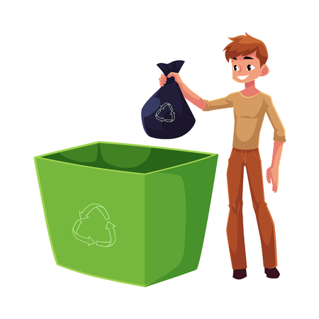 Young man putting garbage bag into trash bin, waste recycling concept, cartoon vector illustration isolated on white background. Full length portrait of man throwing garbage bag into trash bin Ilustrace