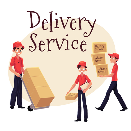 Delivery service banner with young man working as courier, delivering goods, parcel, boxes, cartoon vector illustration isolated on white background. Illustration