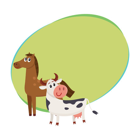 Brown horse, black and white cow with big eyes, side view cartoon vector illustration with space for text. Cute and funny farm horse and cow with friendly face and big eyes