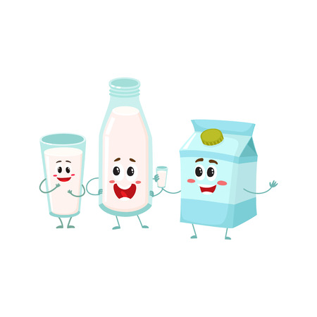 Funny milk characters - bottle, glass, carton box with smiling human faces, cartoon vector illustration isolated on white background. Cute milk bottle, glass and carton box characters, dairy products