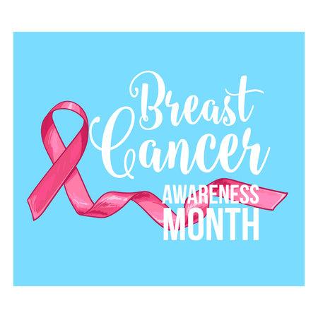 胸の癌意識月バナー、ポスター、手描きピンク リボンのテンプレート、ベクトル図をスケッチします。胸のがん啓発月間キャンペーン バナー、ポス