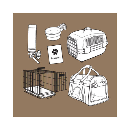 Pet transport, travel set - cage, carrier, bag, passport, drinker, food bowl, sketch vector illustration isolated on brown background. Pet transport, travel accessories on brown background Illusztráció
