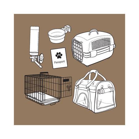 Pet transport, travel set - cage, carrier, bag, passport, drinker, food bowl, sketch vector illustration isolated on brown background. Pet transport, travel accessories on brown background Illustration