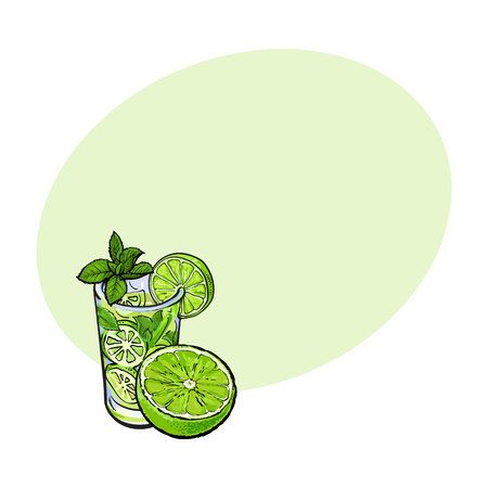 Lime slice and glass of freshly squeezed juice with ice and straw, sketch style vector illustration with space for text. Hand drawn glass of lime cocktail with ice and grapefruit slice Illustration