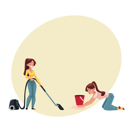 Pretty young woman, housewife washing and vacuum cleaning her house, doing housework, cartoon vector illustration with space for text.