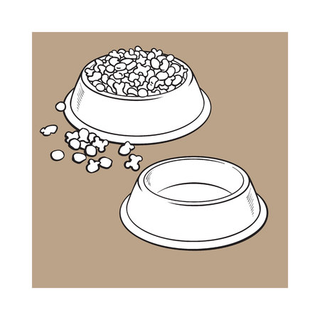 Two shiny plastic bowls, one empty, another filled with dry pet, cat, dog food, black and white sketch style vector illustration isolated on brown background.