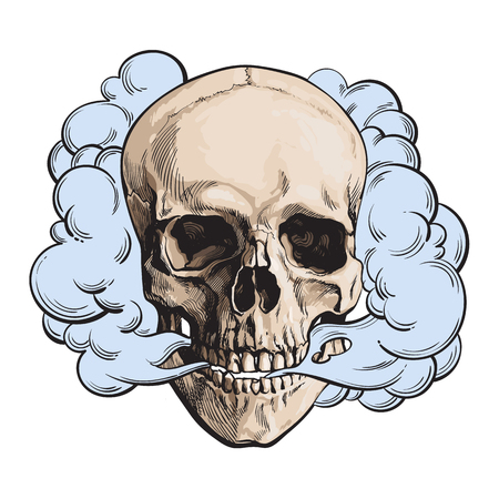 Smoke coming out of skull, death, mortal habit concept, sketch style vector illustration isolated on white background. Hand drawn smoking skull emitting clouds of smoke