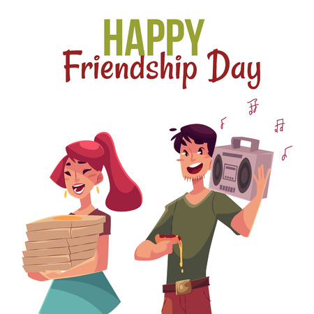 Happy friendship day greeting card design with friends hurrying to a party, pizza, music, cartoon style vector illustration isolated on white background.