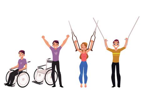 Medische revalidatie, herstel na trauma, geen behoefte meer aan rolstoel of krukken, cartoon vectorillustratie op witte achtergrond.