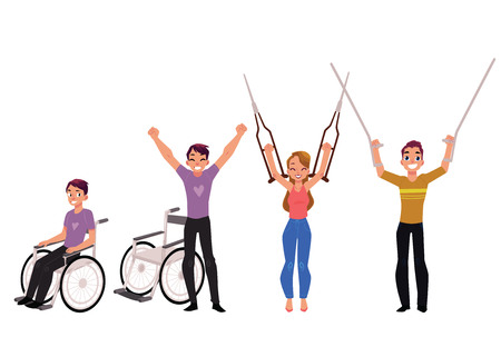 Medical rehabilitation, recovery after trauma, no more need for wheelchair or crutches, cartoon vector illustration on white background.