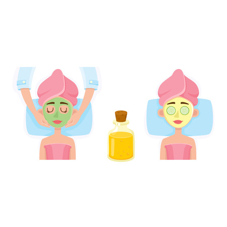 Young woman having facial mask applied by cosmetician and relaxing in spa salon, top view cartoon vector illustration on white background.