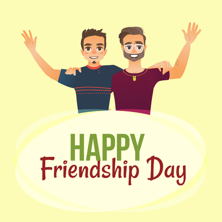 Happy friendship day greeting card design with two men, friends hugging each other, cartoon vector illustration on white background. 向量圖像